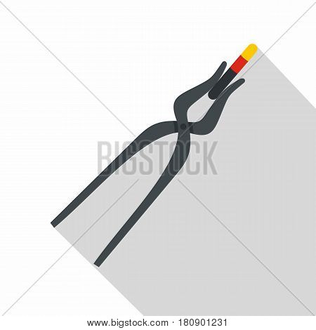 Blacksmith pincers icon. Flat illustration of blacksmith pincers vector icon for web