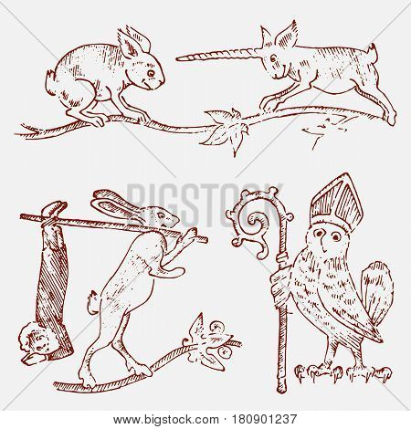 medieval element, decorative hand drawn illustration with old symbols of middle age, gothical ornament piece, engraved chimeras.