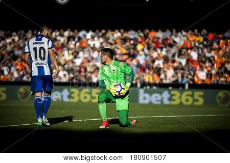 VALENCIA, SPAIN - APRIL 2: Diego Alves with ball during La Liga match between Valencia CF and Deportivo at Mestalla Stadium on April 2, 2017 in Valencia, Spain