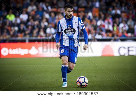 VALENCIA, SPAIN - APRIL 2: Carles Gil during La Liga match between Valencia CF and Deportivo at Mestalla Stadium on April 2, 2017 in Valencia, Spain