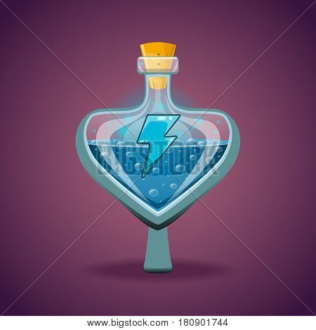 Bottle with magic elixir. Energy potion. Game items