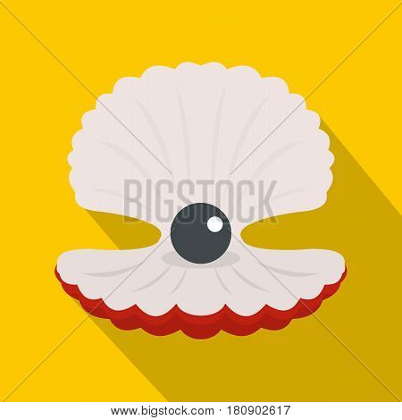 Pearl in a shell icon. Flat illustration of pearl in a shell vector icon for web
