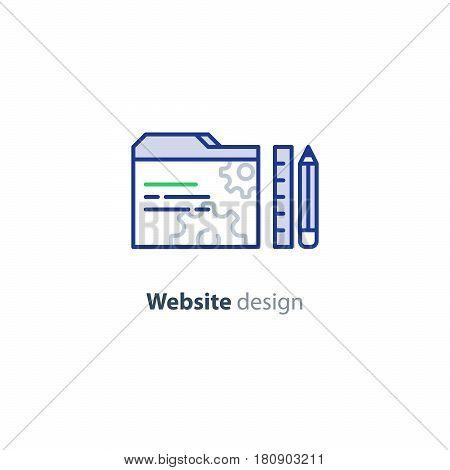 Web site design concept, website interface development and optimization, coding and programing, vector mono line design