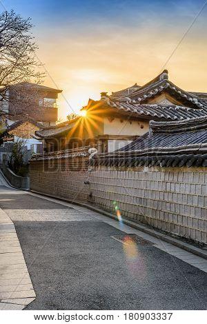 Sunrise at Bukchon Hanok Village Seoul South Korea