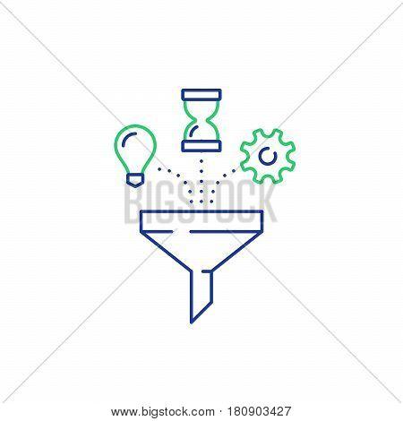 Business success elements, content management concept, smart solutions, vector mono line icons