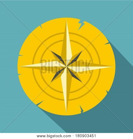 Gold ancient compass icon. Flat illustration of gold ancient compass vector icon for web