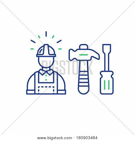 Construction worker in hard hat and jumpsuit, builder in uniform, contractor man, manual labor, hammer and screwdriver vector mono line icons