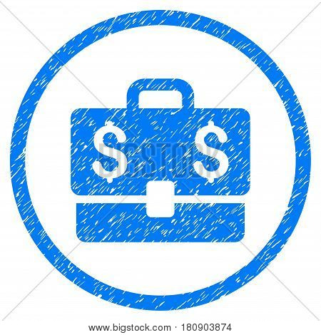 Accounting Case grainy textured icon inside circle for overlay watermark stamps. Flat symbol with dust texture. Circled vector blue rubber seal stamp with grunge design.