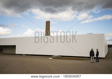 SACHSENHAUSEN - APRIL 3: was a Nazi concentration camp in Germany. Ruins of Sachsenhausen Cremation Ovens on April 3 2015 in Sachsenhausen Germany