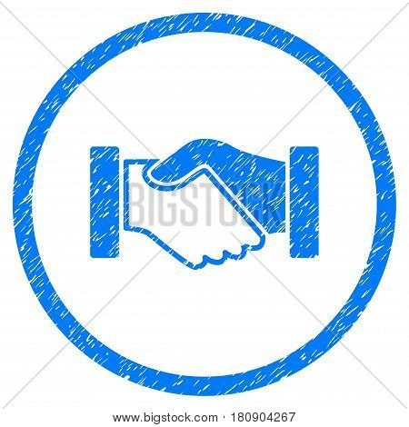 Acquisition Handshake grainy textured icon inside circle for overlay watermark stamps. Flat symbol with dirty texture. Circled vector blue rubber seal stamp with grunge design.