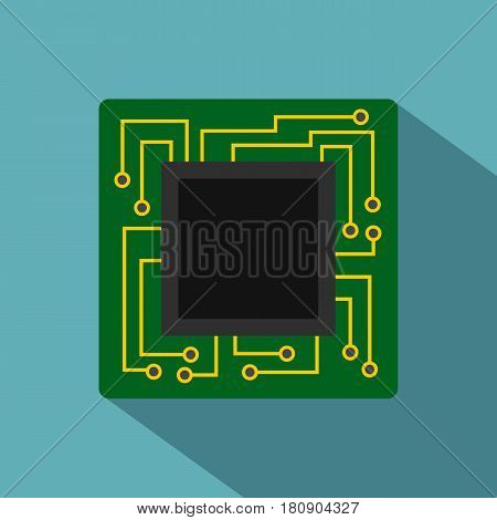 Microchip icon. Flat illustration of microchip vector icon for web