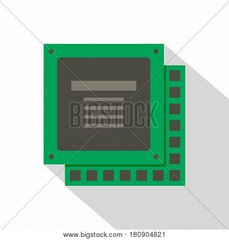 Green computer CPU processor chip icon. Flat illustration of green computer CPU processor chip vector icon for web