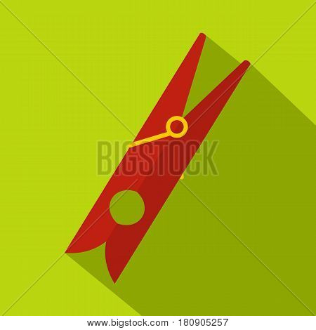 Red clothes pin icon. Flat illustration of red clothes pin vector icon for web