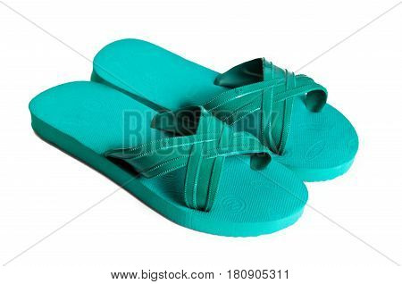 Rubber embed with plastic sandal or slipper with black and yellow stripes isolated on white (Property release of visible logo trademark is attached)