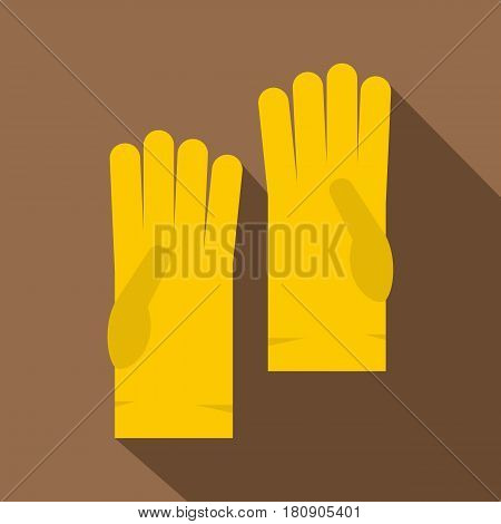 Yellow rubber gloves icon. Flat illustration of yellow rubber gloves vector icon for web