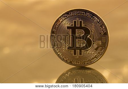 Single bit coin or bitcoin on gold background to illustrate blockchain and cyber currency