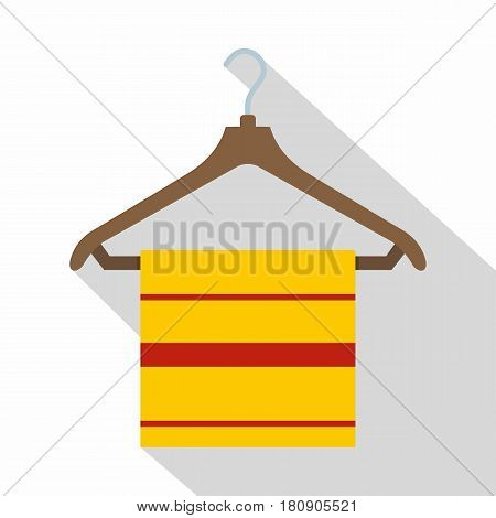 Yellow scarf on wooden coat hanger, icon. Flat illustration of yellow scarf on wooden coat hanger vector icon for web