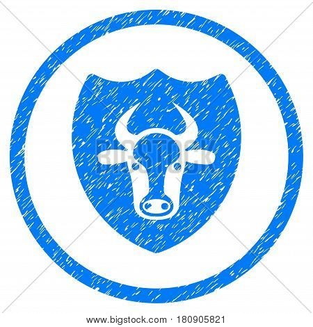 Bull Shield grainy textured icon inside circle for overlay watermark stamps. Flat symbol with unclean texture. Circled vector blue rubber seal stamp with grunge design.