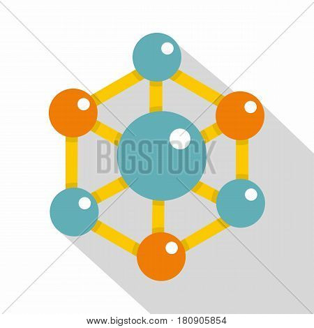 Colorful chemical and physical atoms molecules icon. Flat illustration of colorful chemical and physical atoms molecules vector icon for web