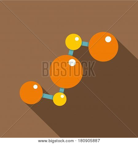 Abstract orange and yellow molecules icon. Flat illustration of abstract orange and yellow molecules vector icon for web