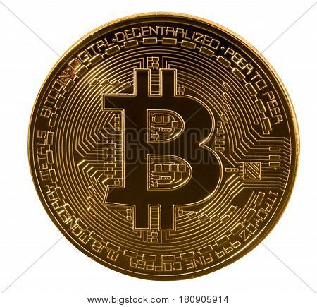 Single macro bitcoin or bit coin isolated against white background to illustrate blockchain and cyber currency