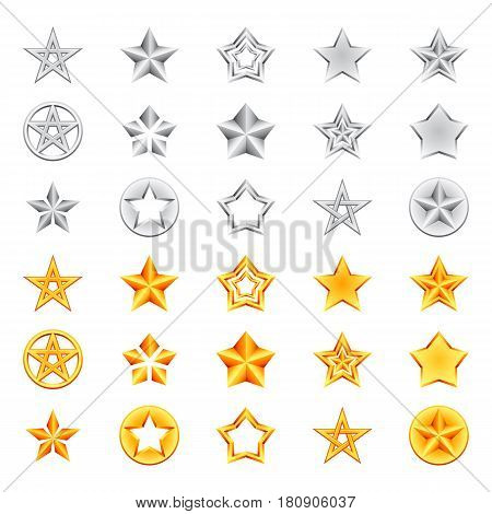 Collection of golden and silver star icons