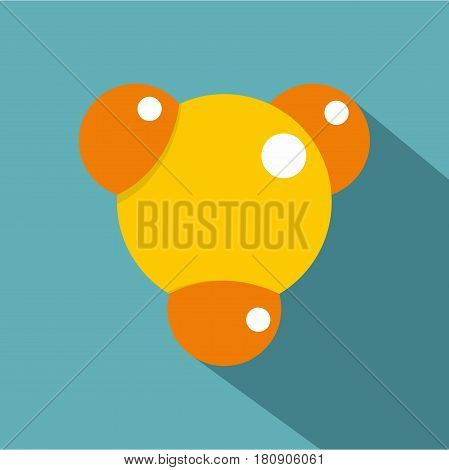 Yellow molecule icon. Flat illustration of yellow molecule vector icon for web