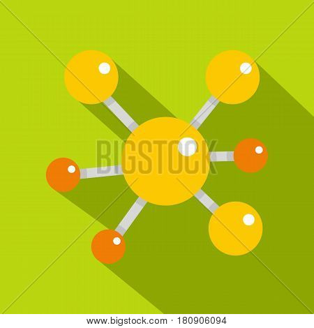 Yellow molecular model icon. Flat illustration of yellow molecular model vector icon for web
