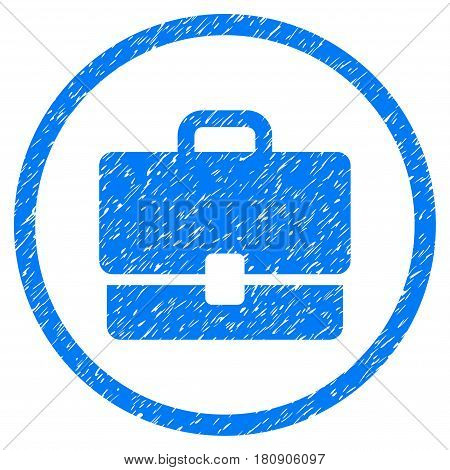 Case grainy textured icon inside circle for overlay watermark stamps. Flat symbol with dirty texture. Circled vector blue rubber seal stamp with grunge design.