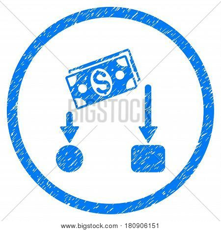 Cash Flow grainy textured icon inside circle for overlay watermark stamps. Flat symbol with dirty texture. Circled vector blue rubber seal stamp with grunge design.