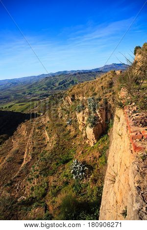 View of sicilian scenic countryside in the Assoro territory