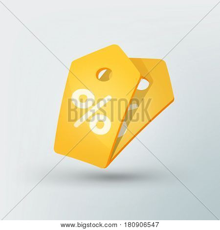 Sale tag icon in modern style. Yellow price tag with percent sign. Beautiful discount and promotion template. Vector illustration