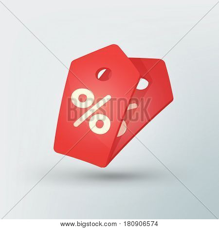 Sale tag icon in modern style. Red price tag with percent sign. Beautiful discount and promotion template. Vector illustration
