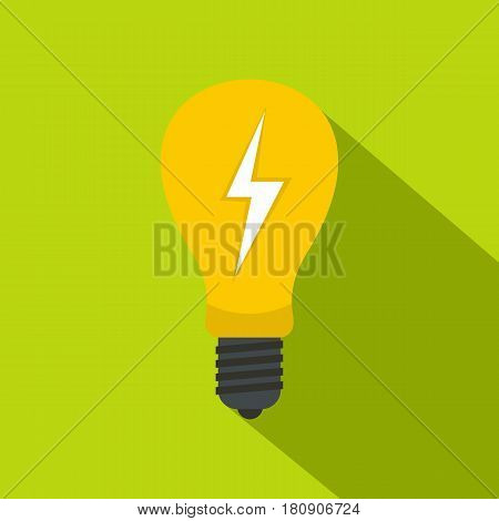Yellow light bulb with lightning inside icon. Flat illustration of yellow light bulb with lightning inside vector icon for web