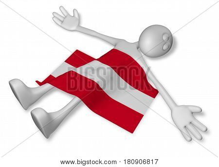 dead cartoon guy and flag of austria - 3d illustration