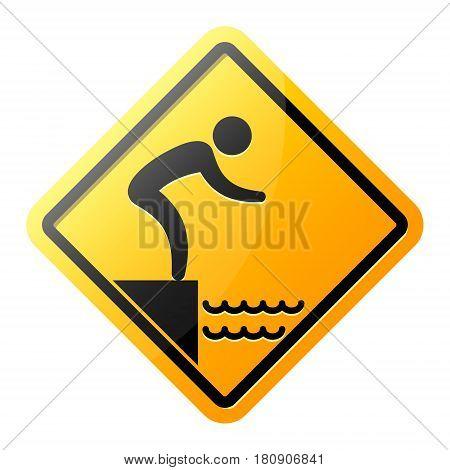No jumping into water hazard warning yellow sign. Vector symbol.