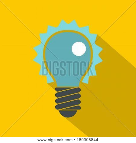 Blue electric bulb icon. Flat illustration of blue electric bulb vector icon for web