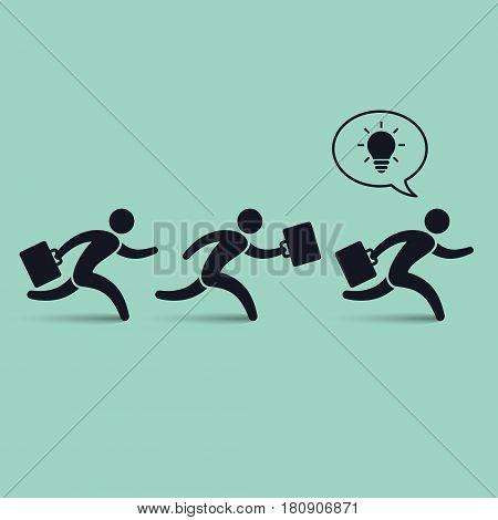 Running businessmen team following their leader vector leadership illustration.