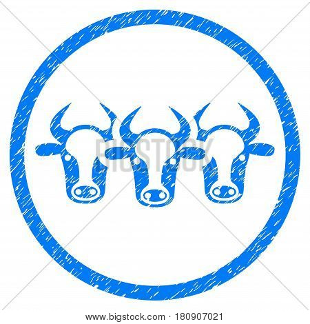 Cattle grainy textured icon inside circle for overlay watermark stamps. Flat symbol with dust texture. Circled vector blue rubber seal stamp with grunge design.