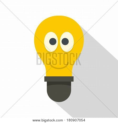 Yellow smiling light bulb with eyes icon. Flat illustration of yellow smiling light bulb with eyes vector icon for web
