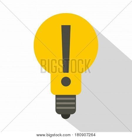 Yellow light bulb with exclamation mark inside icon. Flat illustration of yellow light bulb with exclamation mark inside vector icon for web