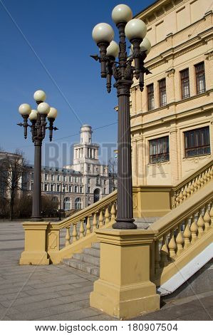 St. Petersburg. A building with columns, large stained-glass windows and a forester