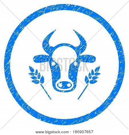 Cow And Wheat Agriculture grainy textured icon inside circle for overlay watermark stamps. Flat symbol with unclean texture. Circled vector blue rubber seal stamp with grunge design.