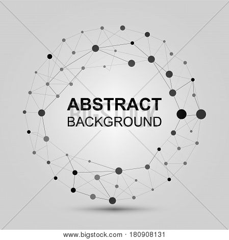 Contemporary techno black and white stylish asymmetric construction, abstract dimensional object with connected lines and dots.