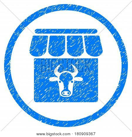 Cow Farm grainy textured icon inside circle for overlay watermark stamps. Flat symbol with dust texture. Circled vector blue rubber seal stamp with grunge design.