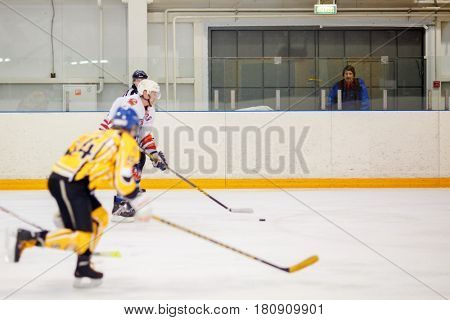 Moscow, Russia - January, 28, 2017: Amateur hockey league LHL-77. Game between hockey team