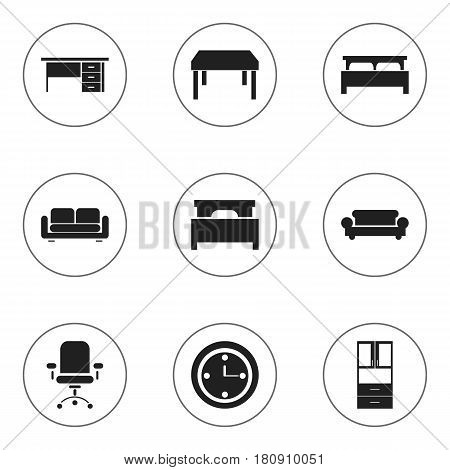 Set Of 9 Editable Furnishings Icons. Includes Symbols Such As Canape, Stillage, Wooden Table And More. Can Be Used For Web, Mobile, UI And Infographic Design.