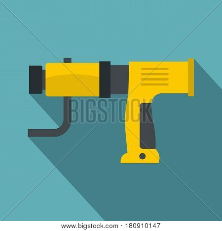 Yellow hand drill icon. Flat illustration of vector icon for web