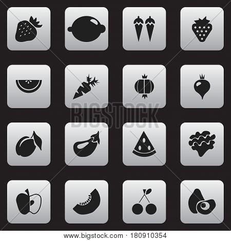 Set Of 16 Editable Dessert Icons. Includes Symbols Such As Lime, Aubergine, Root Vegetable And More. Can Be Used For Web, Mobile, UI And Infographic Design.