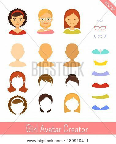 Girl avatar icons creator. Editable vector set